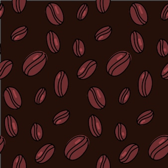 Coffee beans pattern. dark seamless background with hand drawn brown seeds. vector texture.