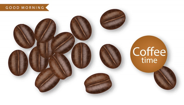 Coffee beans realistic  illustration