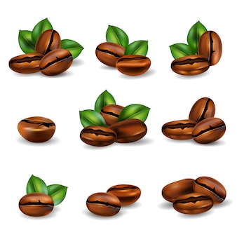 Coffee beans realistic set