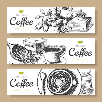 Coffee beans, roasted coffee, banners background