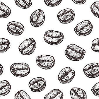 Coffee beans on white, vintage seamless pattern