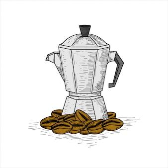 Кофейные зерна с кофеваркой, рисованной старинные иллюстрации.