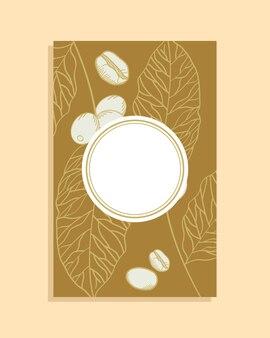 葉紙フレームをテーマにしたコーヒー豆