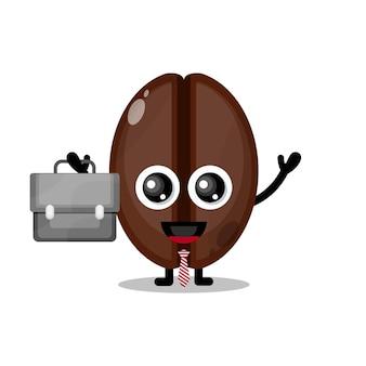 커피 콩 작업 귀여운 캐릭터 마스코트