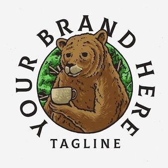 コーヒークマのロゴのテンプレートデザイン