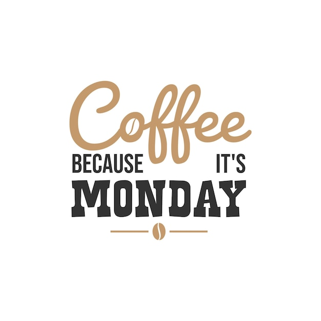 Coffee because it is monday, inspirational quotes design