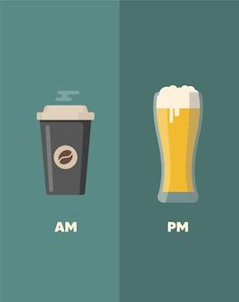 Coffee and beer quotes. coffee cup. coffee cup vector illustration.
