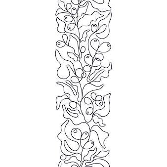 커피 베리 추상 원활한 패턴 아트 모노 라인 자연 테두리