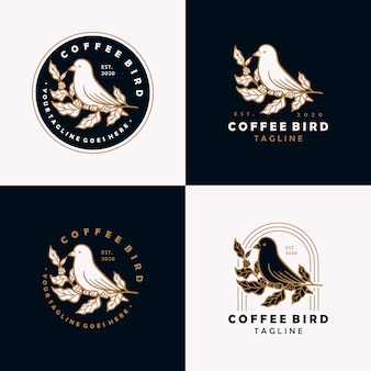 コーヒー鳥のビンテージロゴデザインテンプレートです。
