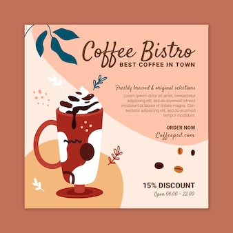 Coffee bistro square flyer design template