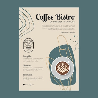 Modello di volantino verticale di caffè bistrot