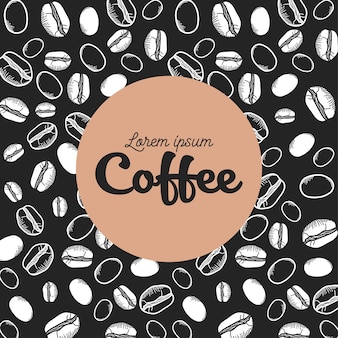 コーヒーの黒と白の豆の背景のテーマ