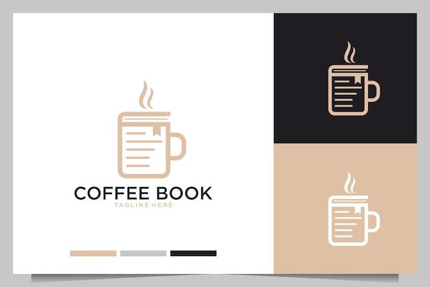 커피 책 우아한 로고 디자인