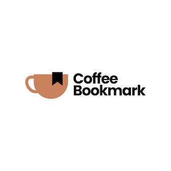Coffee bookmark logo vector icon illustration