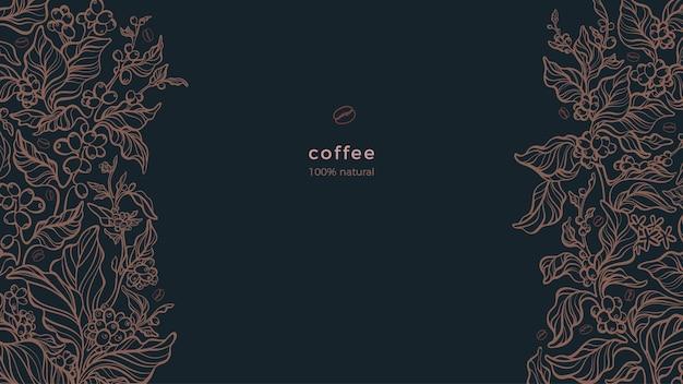 Кофейная граница ароматная плантация сырые бобы тропический напиток арабика художественная графическая иллюстрация