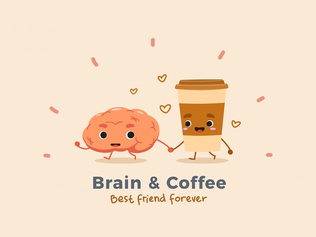 Coffee and brain. isolated.