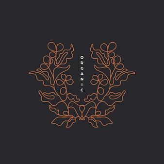 커피 분기 프레임. 잎의 윤곽, 베리의 그래픽 모양과 유기 기호. 추상 그림
