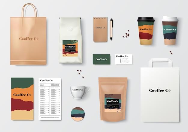 コーヒーブランディングテンプレートデザインセットリアルなモックアップワールドシリーズコーヒーパッケージベクトル
