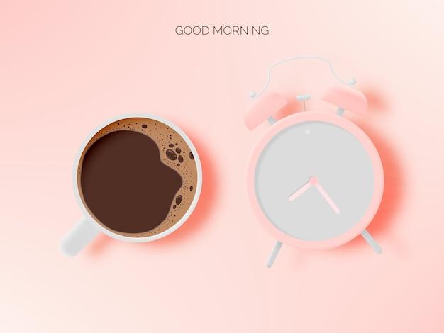 커피 컵과 알람 시계와 파스텔 색 구성표가있는 커피 브레이크 배경