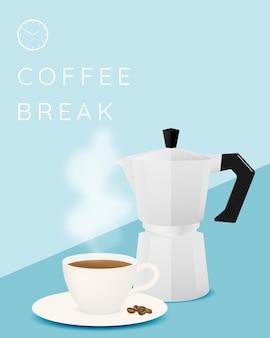 커피 컵과 파스텔 색 구성표와 커피 브레이크 배경