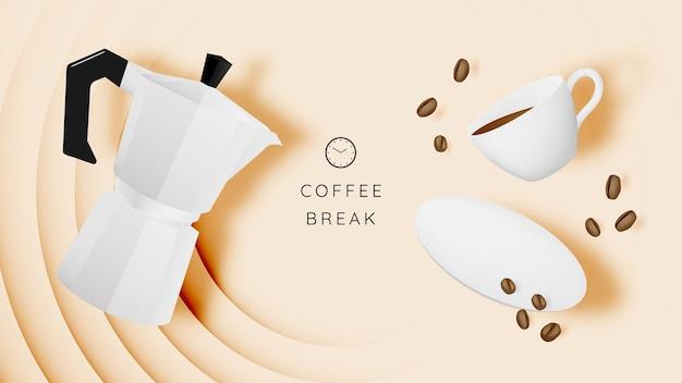 コーヒーカップとパステルカラースキームのコーヒーブレークの背景
