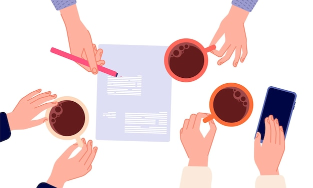 コーヒーブレイク。ビジネス会議、契約書署名の上面図。マネージャーやビジネスマンアメリカーノやエスプレッソでカップを持っている手