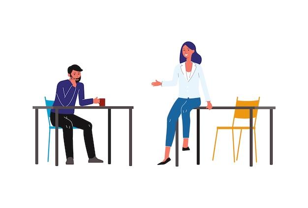 コーヒーブレーク-ドリンクを飲みながら、オフィスの白でカジュアルな会話を持つビジネス服の漫画人、昼食時にチャットの友人-イラスト