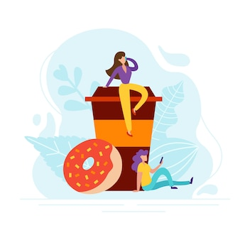 Coffee break concept with tiny people, cup and donut in flat style. good morning illustration for cafe card, menu, print. creative lunch vector poster.