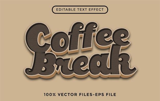 Редактируемый текстовый эффект кофе-брейка премиум векторы