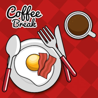 Coffee break fried egg bacon with spoon fork knife