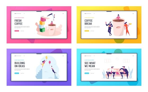 Coffee break friendly conversation and creative idea landing page template