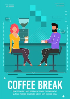 Coffee break invitation flyer with resting people