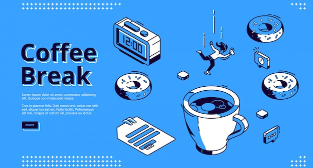 Coffee break isometric landing page, breakfast