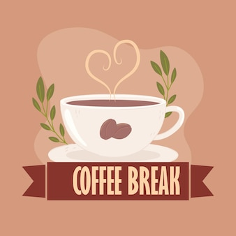 Coffee break label and cup