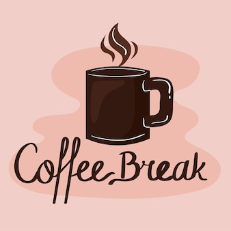 Coffee break label with cup