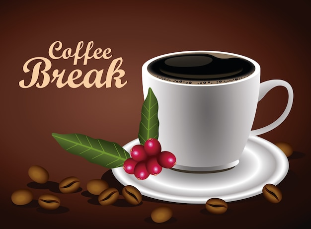 Coffee break lettering poster with cup and seeds nature vector illustration design