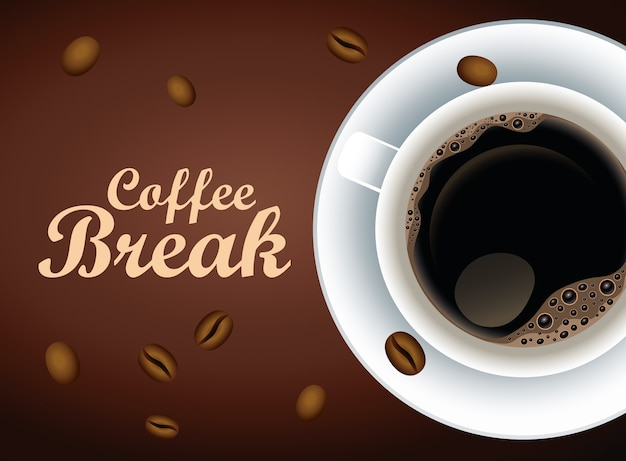 Coffee break lettering poster with cup and seeds vector illustration design