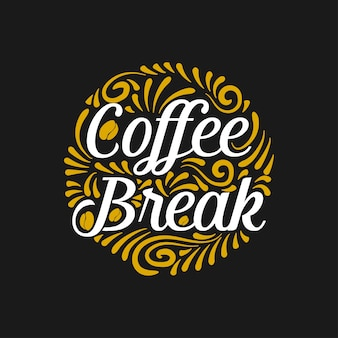 Coffee break lettering with sketch