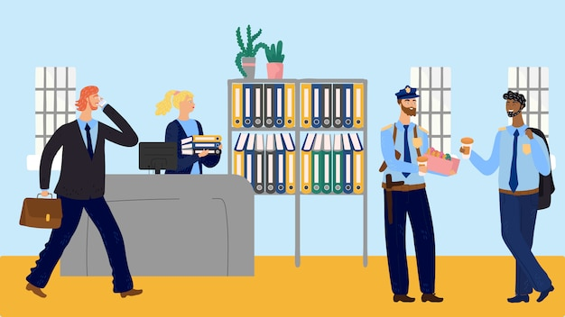 Coffee break at police station, officers eating doughnuts, vector illustration