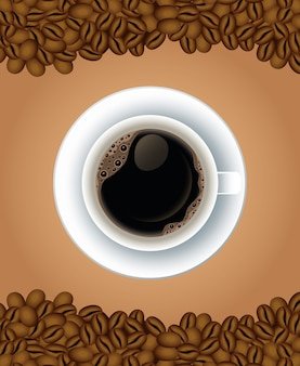 Coffee break poster with cup in dish and seeds airview vector illustration design