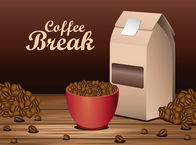 Coffee break poster with cup and packing box in wooden table vector illustration design