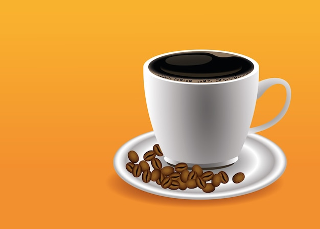 Coffee break poster with cup and seeds in orange background vector illustration design