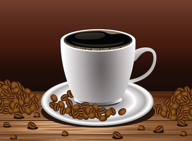 Coffee break poster with cup and seeds in wooden table vector illustration design