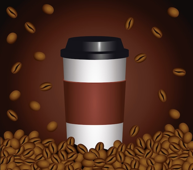 Coffee break poster with plastic pot and seeds in brown background vector illustration design