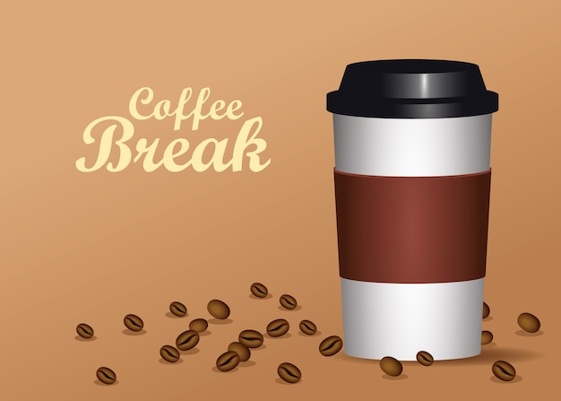 Coffee break poster with plastic pot and seeds vector illustration design