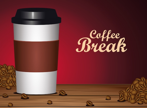 Coffee break poster with plastic pot and seeds in wooden table vector illustration design