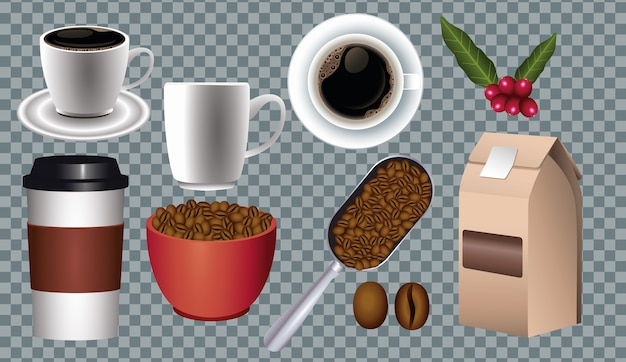Coffee break poster with set icons in checkered background vector illustration design