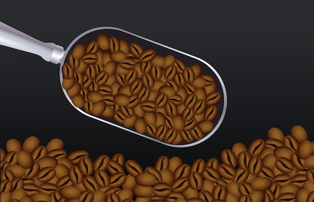 Coffee break poster with spoon and grains vector illustration design