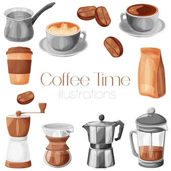 Coffee brewers, mugs, package and beans cartoon realistic illustration set, isolated.