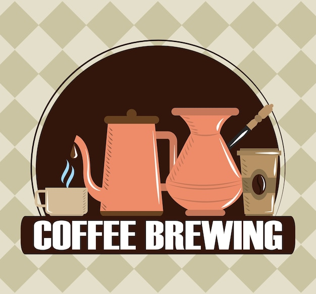 Coffee brewing, cezve kettle disposable and ceramic cups, poster vector illustration